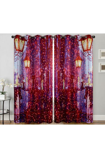 "City Night Lights Digital Print 2 Panel Curtain Set - 27"" x 84"""