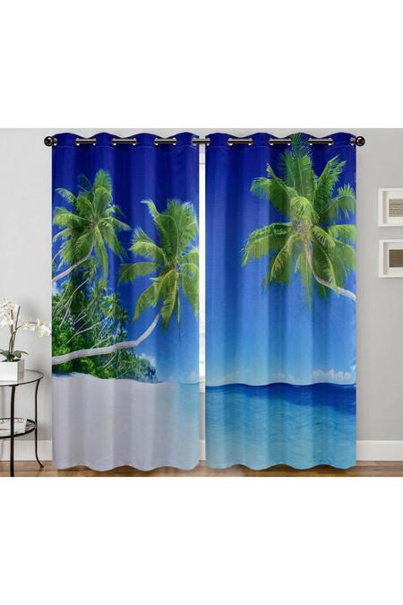 "Palm Beach Paradise Digital Print 2 Panel Curtain Set - 27"" x 90"""
