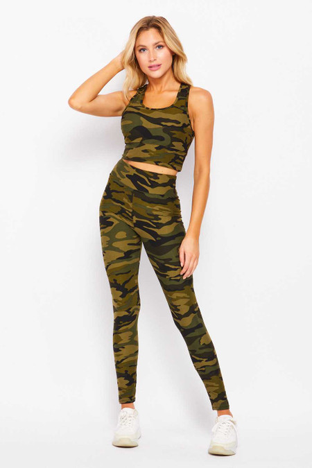 Wholesale Buttery Soft High Waisted 3 Inch Camouflage Leggings and Crop Bra Set
