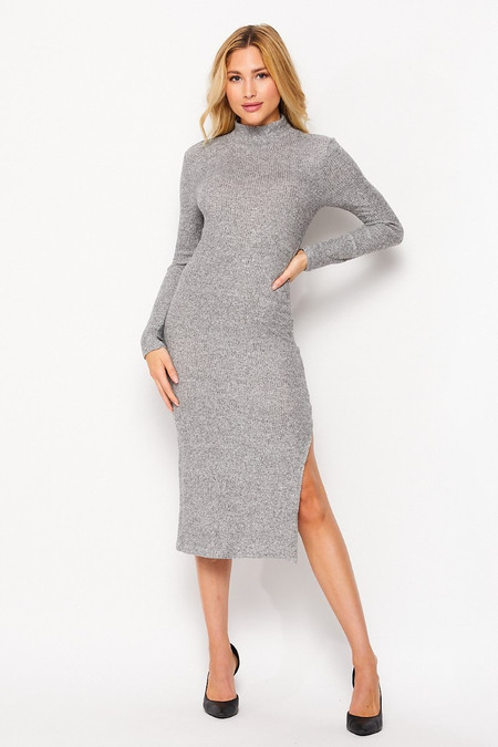 Front side image of Heather Gray Wholesale Solid Fitted Rayon Mock Neck Long Sleeve Side Slit Midi Dress
