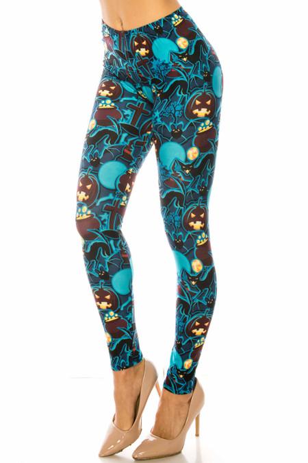 Wholesale Creamy Soft Electric Blue Halloween Leggings - USA Fashion™