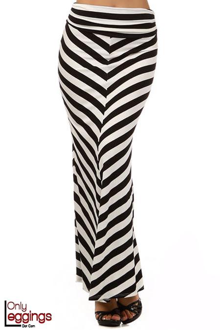 Wide Stripe Rayon Maxi Skirt