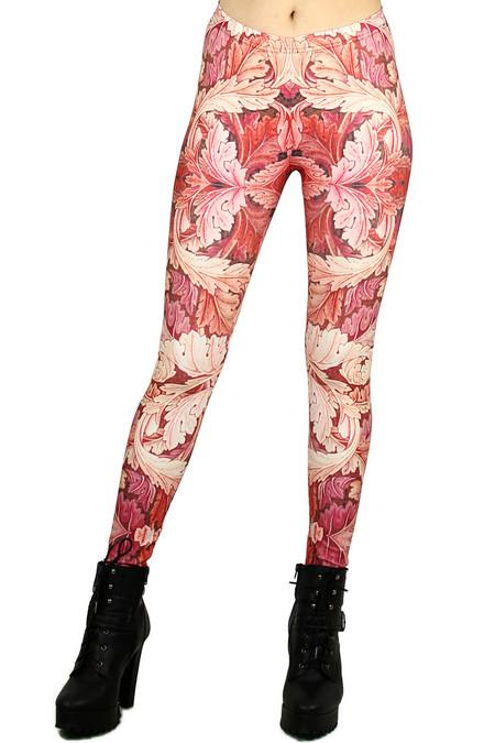 Red Leaf Leggings - Plus Size