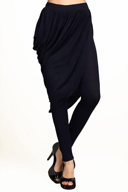 Asymmetrical Draped Skirt Leggings