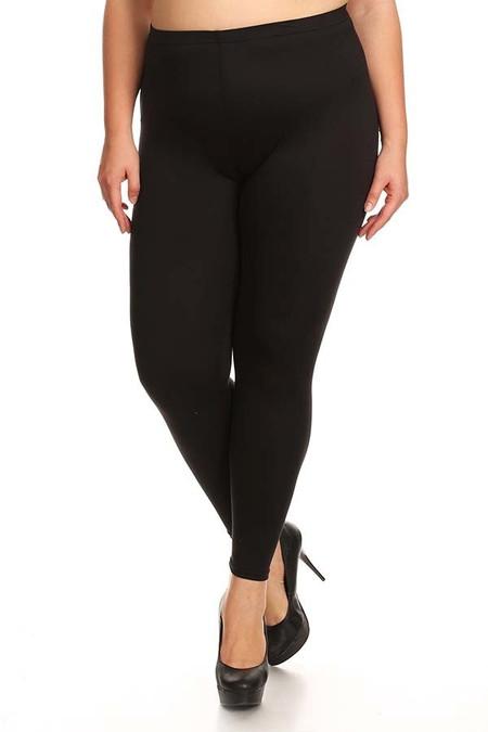 Solid Poly Brushed Basic Leggings - Plus Size