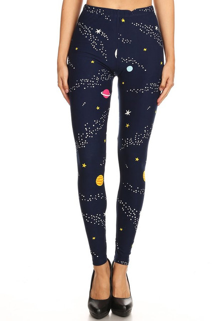 Brushed Outer Space Plus Size Leggings - 3X-5X