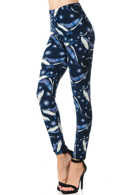 Brushed Blue Whale Plus Size Leggings