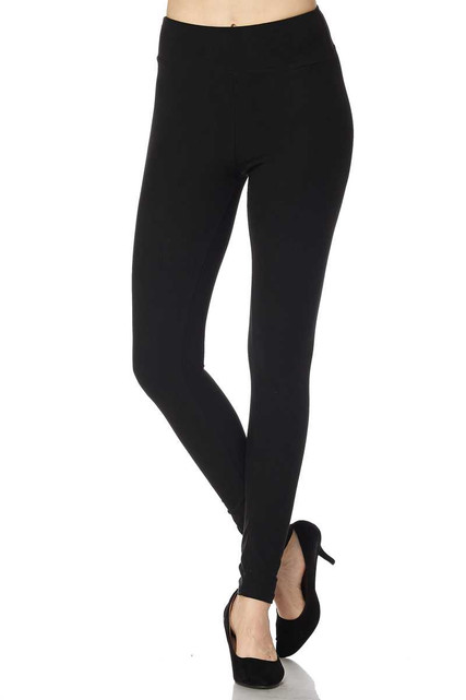 Brushed Basic Solid High Waisted Plus Size Leggings - 3X-5X