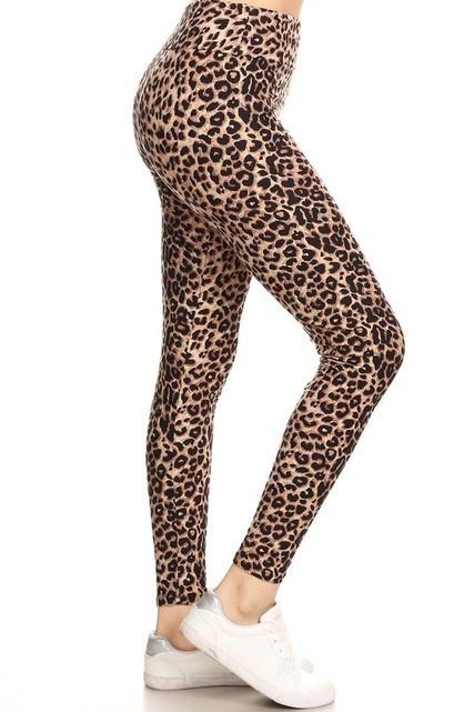 Brushed Cheetah Print High Waisted Plus Size Leggings