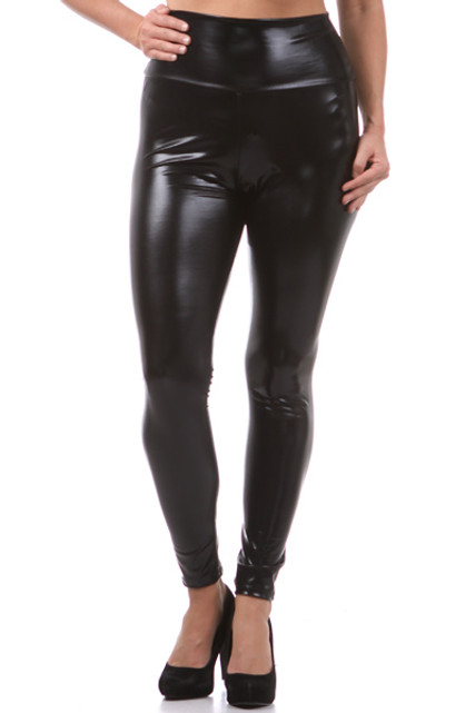 Shiny Black High Waisted Faux Leather Plus Size leggings