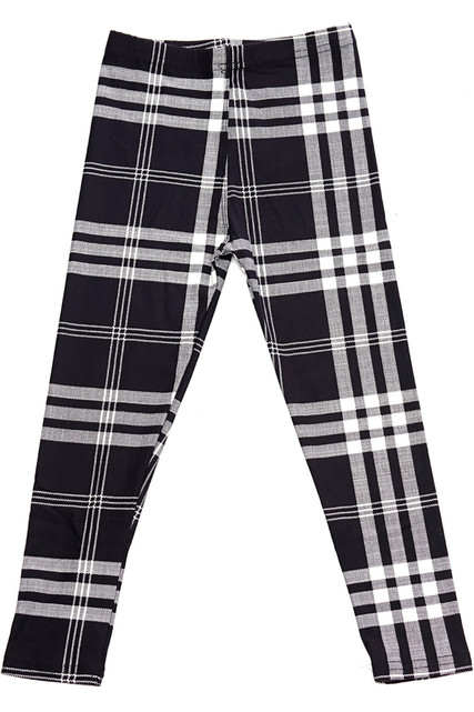 Brushed Black and White Plaid Kids Leggings