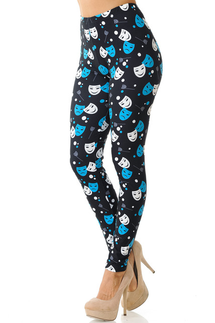 Creamy Soft Comedy Tragedy Mask Plus Size Leggings