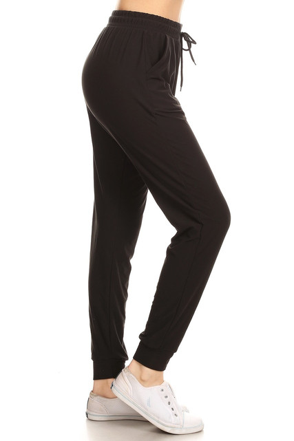 Brushed Solid Basic Plus Size Joggers