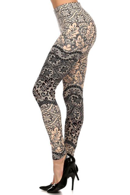 Brushed Exquisite Leaf Leggings