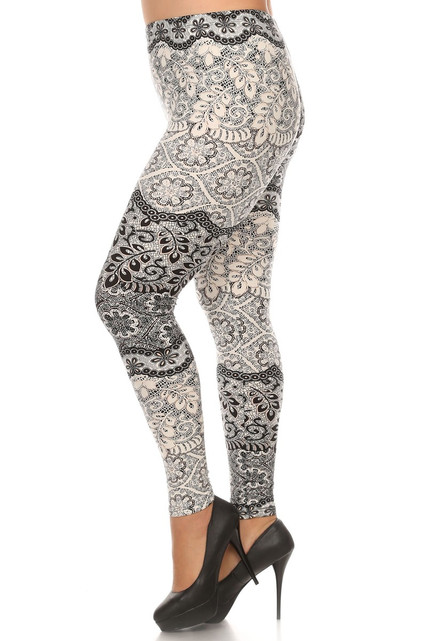 Left side leg image of Brushed Exquisite Leaf Plus Size Leggings - 3X - 5X