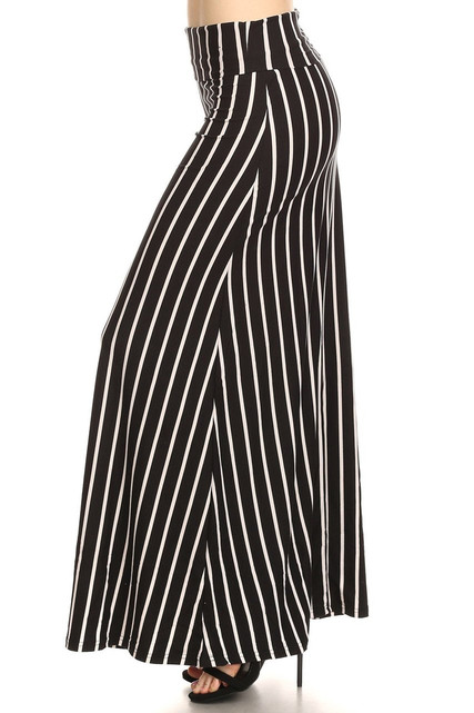 Brushed Black Pinstripe Maxi Skirt