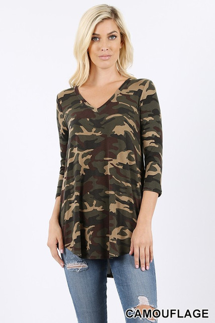 3/4 Sleeve V-Neck and Round Hem Camouflage Top