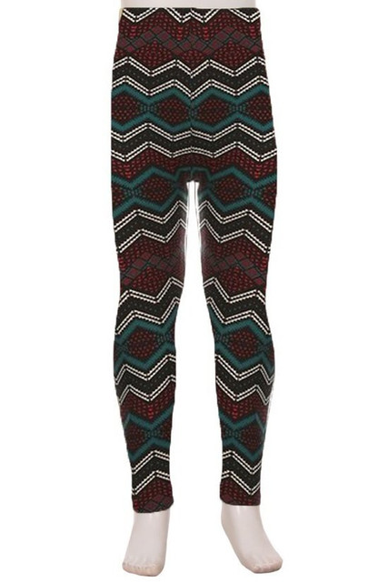 Brushed Bands of Chevron Kids Leggings