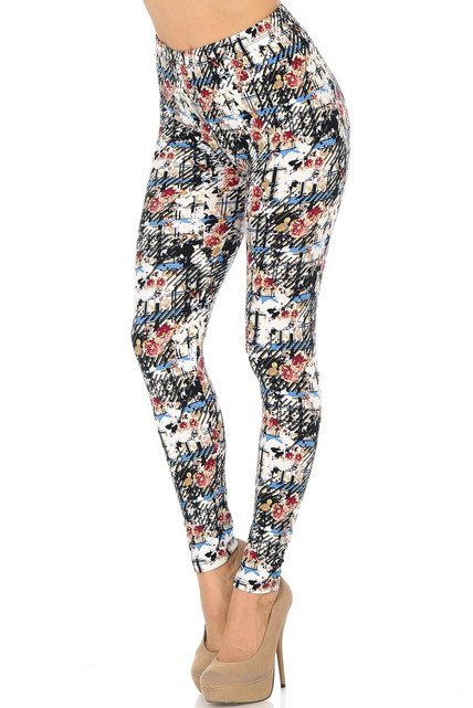 Brushed Scratch Floral Leggings