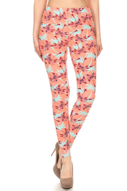 Brushed Peach Palm Tree Leggings