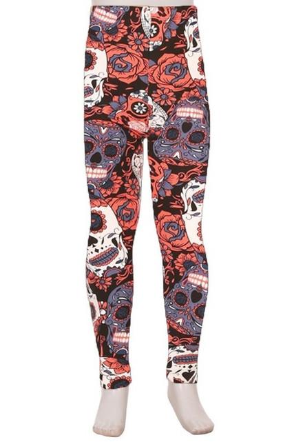 Brushed Crimson Sugar Skull Kids Leggings