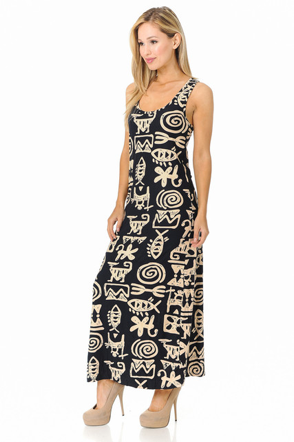Brushed Elegant Tribal Symbols Maxi Dress - EEVEE