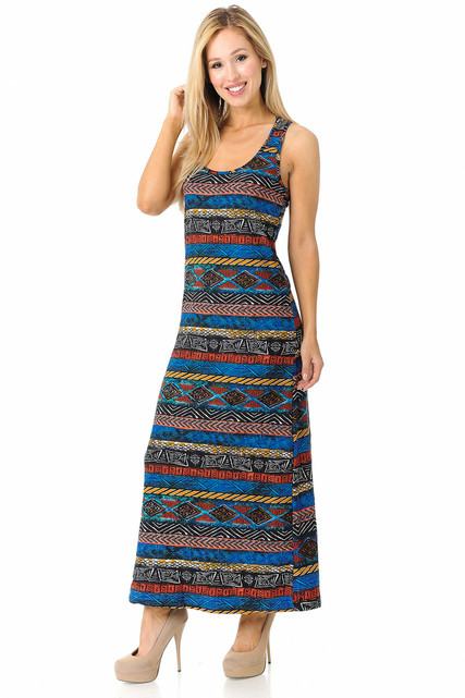 Brushed Colorful Tribal Maxi Dress - EEVEE