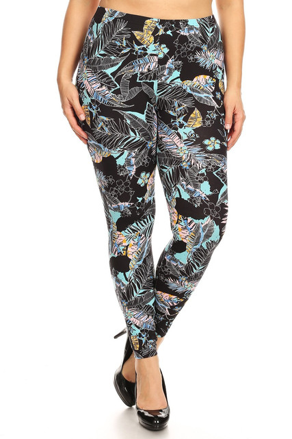 Brushed Mint Floral Tropics Plus Size Leggings