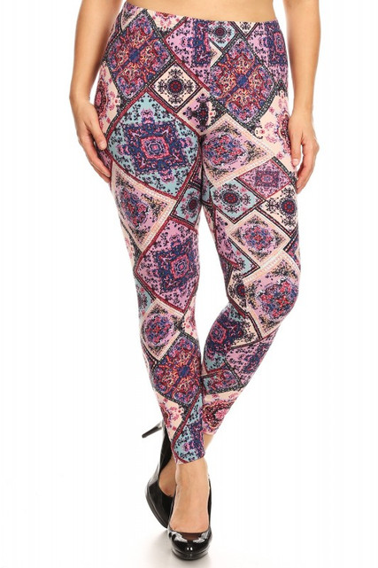 Brushed Pastel Patchwork Plus Size Leggings