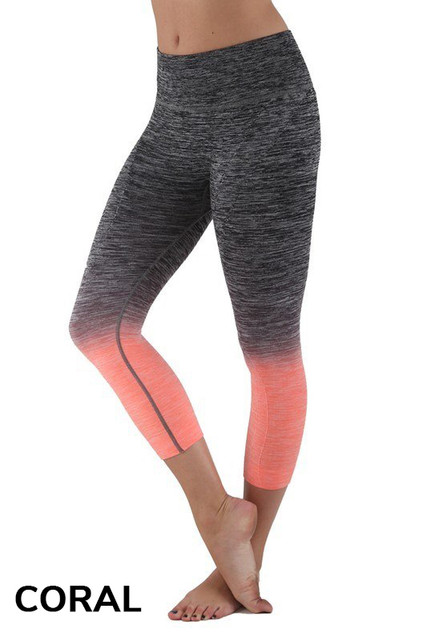 Coral Ombre Fusion Workout Plus Size Capris