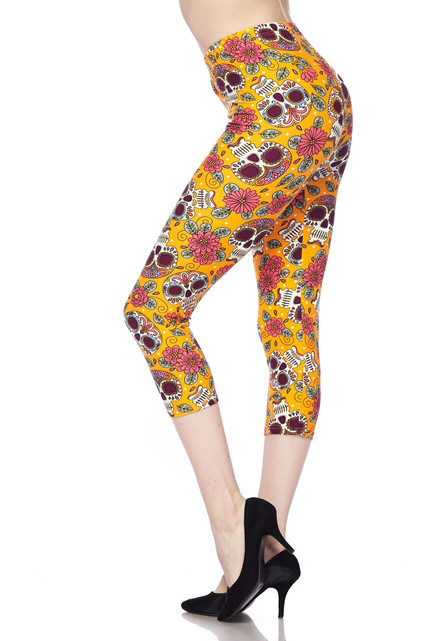 Soft Brushed Mustard Summer Sugar Skull Capris