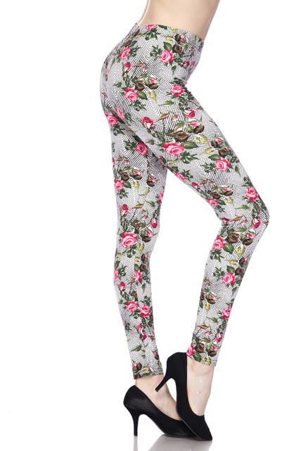 Soft Brushed Floral Rose Mirage Extra Plus Size Leggings - 3X-5X
