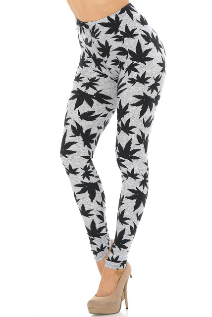 Soft Brushed Solid Heather Grey Marijuana Leggings