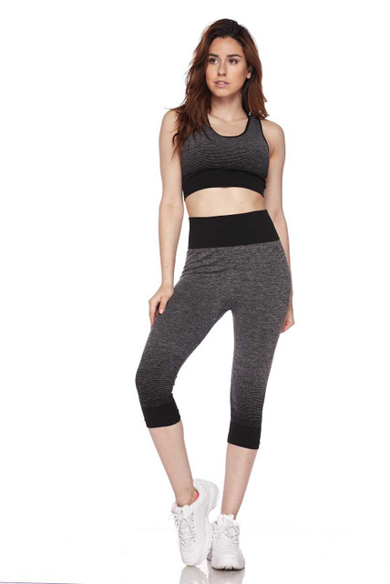 Front Black Premium 2 Color Ombre Sport Bra and Capri Set