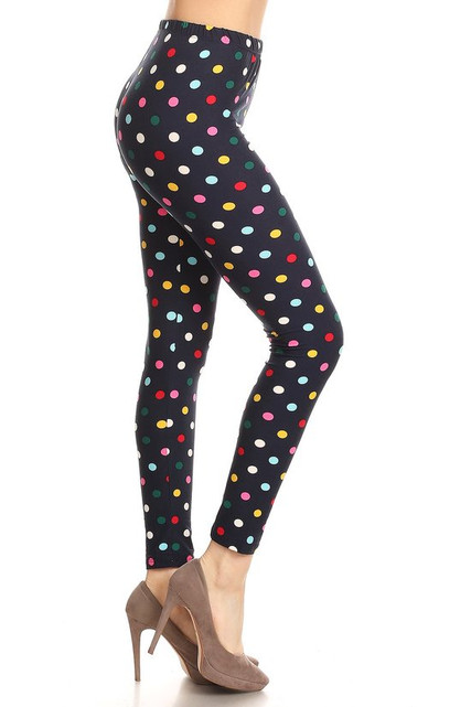 Soft Brushed Colorful Polka Dot Plus Size Leggings