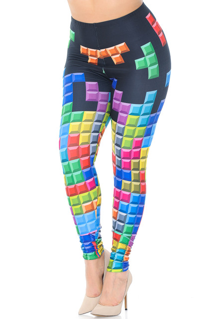 Creamy Soft Tetris Extra Plus Size Leggings - 3X-5X - USA Fashion™