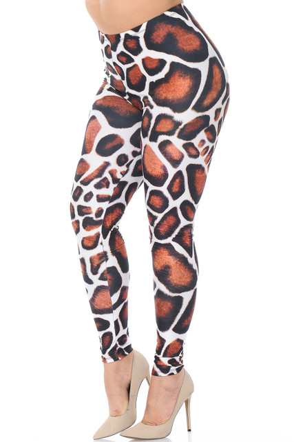 Creamy Soft Giraffe Print Extra Plus Size Leggings - 3X-5X - USA Fashion™