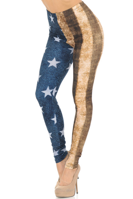 Creamy Soft Vintage USA Flag Extra Small Leggings - USA Fashion™