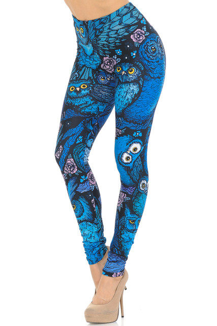 Creamy Soft Blue Owl Collage Leggings - USA Fashion™