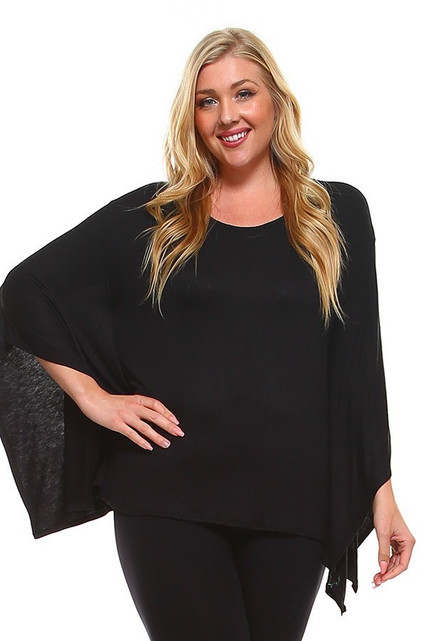 Round Neck Cape Style Sleeveless Rayon Plus Size Top