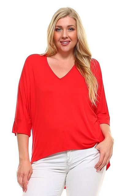V-Neck 3/4 Sleeve High-Low Hem Rayon Plus Size Top