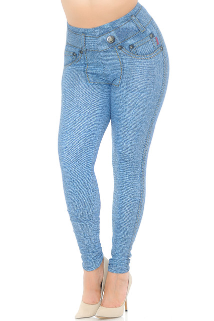 Creamy Soft Beautiful Blue Jean Extra Plus Size Leggings - 3X-5X - USA Fashion™