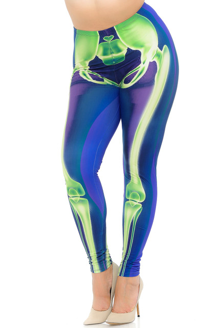 Creamy Soft Chernobyl Skeleton Bones Extra Plus Size Leggings - 3X-5X - USA Fashion™