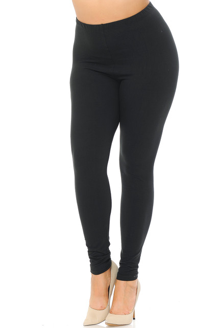 Black Main Brushed Basic Solid Plus Size Leggings - EEVEE