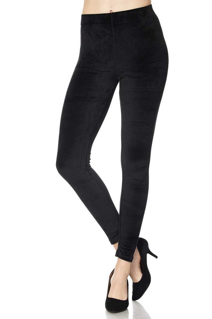 Solid Brushed Velour Velvet Leggings