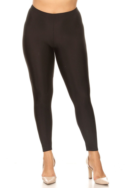 Black Premium Shiny Stretch Plus Size Leggings