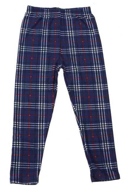 Brushed Navy Blue Plaid Kids Leggings