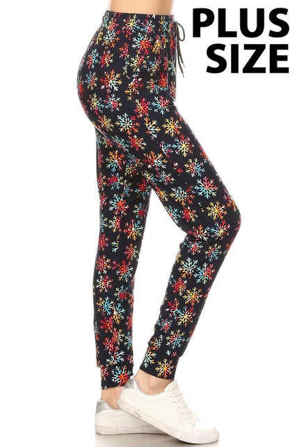 Brushed  Rainbow Snowflake Plus Size Joggers