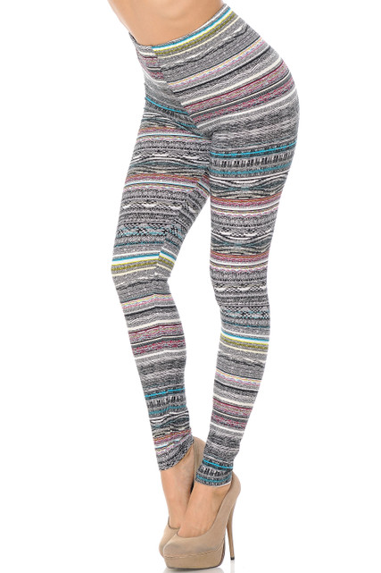 Brushed Tribal Cascade Rings Plus Size Leggings