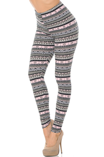 Brushed Dainty Pink Wrap Extra Plus Size Leggings - 3X-5X